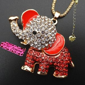 Betsey Johnson Red Crystal Elephant Necklace